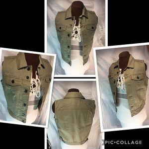 Levi Strauss Army green denim trucker Jacket